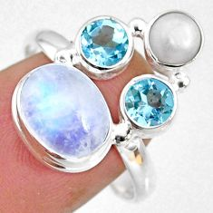 8.51cts natural rainbow moonstone topaz pearl 925 silver ring size 9.5 r63928