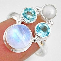 8.80cts natural rainbow moonstone topaz pearl 925 silver ring size 8.5 r63942