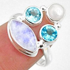 8.73cts natural rainbow moonstone topaz pearl 925 silver ring size 7.5 r63948