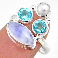 8.07cts natural rainbow moonstone topaz pearl 925 silver ring size 8.5 r63972