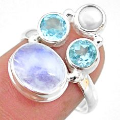 8.07cts natural rainbow moonstone topaz pearl 925 silver ring size 7.5 r63975