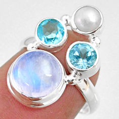 8.71cts natural rainbow moonstone topaz pearl 925 silver ring size 6 r63912