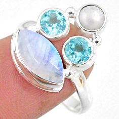 8.84cts natural rainbow moonstone topaz pearl 925 silver ring size 9 r63973