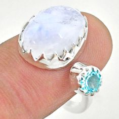8.21cts natural rainbow moonstone topaz silver adjustable ring size 7.5 t43528