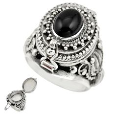 2.27cts natural rainbow obsidian eye 925 silver poison box ring size 7 r41181