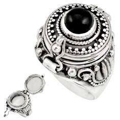 2.37cts natural rainbow obsidian eye 925 silver poison box ring size 7 r41186