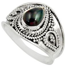 Clearance Sale- 1.84cts natural rainbow obsidian eye 925 silver solitaire ring size 7.5 d39023
