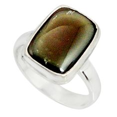 5.11cts natural rainbow obsidian eye 925 silver solitaire ring size 7.5 r19693