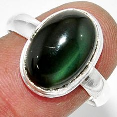 6.04cts natural rainbow obsidian eye 925 silver solitaire ring size 8.5 r39382