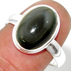 6.04cts natural rainbow obsidian eye 925 silver solitaire ring size 8.5 r39387