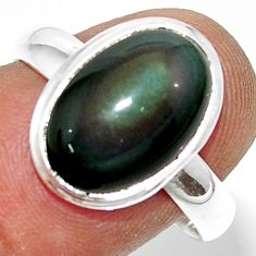 5.84cts natural rainbow obsidian eye 925 silver solitaire ring size 8.5 r39396