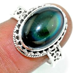6.57cts natural rainbow obsidian eye 925 silver solitaire ring size 7.5 r53656