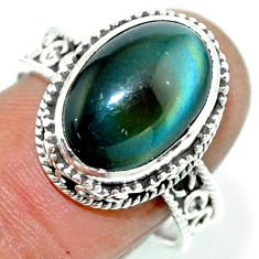 6.48cts natural rainbow obsidian eye 925 silver solitaire ring size 8.5 r53659
