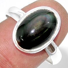 5.50cts natural rainbow obsidian eye 925 silver solitaire ring size 10 r39400