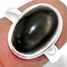 5.84cts natural rainbow obsidian eye 925 silver solitaire ring size 6 r39383