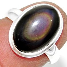 6.03cts natural rainbow obsidian eye 925 silver solitaire ring size 6 r39386