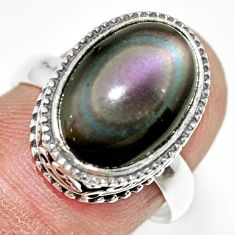6.57cts natural rainbow obsidian eye 925 silver solitaire ring size 7 r21201