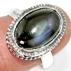 6.33cts natural rainbow obsidian eye 925 silver solitaire ring size 7 r21205