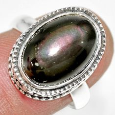 6.63cts natural rainbow obsidian eye 925 silver solitaire ring size 7 r21209