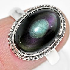 6.62cts natural rainbow obsidian eye 925 silver solitaire ring size 7 r21216