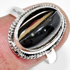 6.31cts natural rainbow obsidian eye 925 silver solitaire ring size 7 r21217