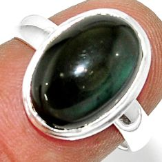 5.75cts natural rainbow obsidian eye 925 silver solitaire ring size 7 r39385