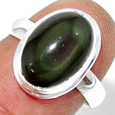5.84cts natural rainbow obsidian eye 925 silver solitaire ring size 7 r39395
