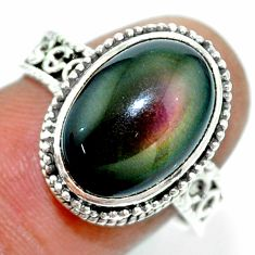 6.57cts natural rainbow obsidian eye 925 silver solitaire ring size 8 r53653