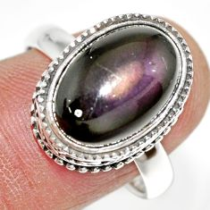 6.80cts natural rainbow obsidian eye 925 silver solitaire ring size 9 r21210