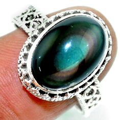 7.21cts natural rainbow obsidian eye 925 silver solitaire ring size 9 r53652