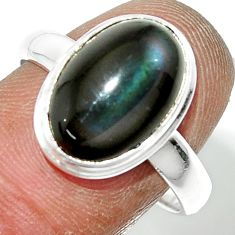 5.28cts natural rainbow obsidian eye 925 sterling silver ring size 8.5 r42988