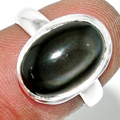 4.84cts natural rainbow obsidian eye 925 sterling silver ring size 5.5 r42993