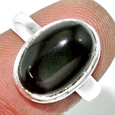 5.14cts natural rainbow obsidian eye 925 sterling silver ring size 6.5 r42998