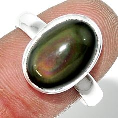 5.23cts natural rainbow obsidian eye 925 sterling silver ring size 8.5 r42999