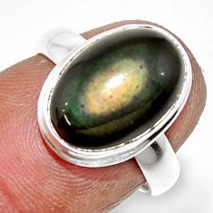 5.79cts natural rainbow obsidian eye 925 sterling silver ring size 6 r42987