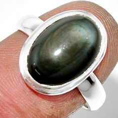 5.49cts natural rainbow obsidian eye 925 sterling silver ring size 7 r42989