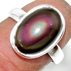 5.14cts natural rainbow obsidian eye 925 sterling silver ring size 7 r42990
