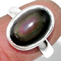 5.32cts natural rainbow obsidian eye 925 sterling silver ring size 7 r42996