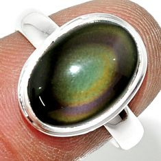 5.29cts natural rainbow obsidian eye 925 sterling silver ring size 8 r42992