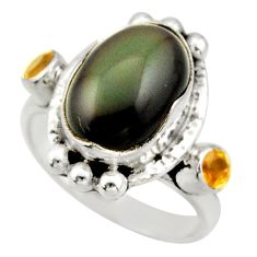 7.99cts natural rainbow obsidian eye citrine silver solitaire ring size 9 d47431