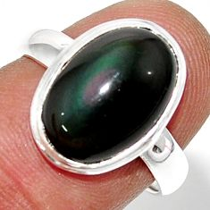 5.43cts natural rainbow obsidian eye oval silver solitaire ring size 7 r39393