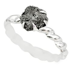 1.59cts natural raw diamond rough 925 silver solitaire ring size 9.5 r79341