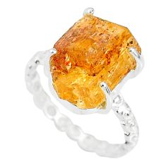 7.33cts natural raw imperial topaz 925 silver solitaire ring size 7.5 r79542