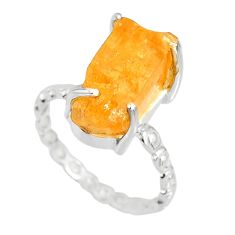 7.57cts natural raw imperial topaz 925 silver solitaire ring size 7.5 r79560