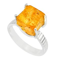 6.54cts natural raw imperial topaz 925 silver solitaire ring size 7 r79555