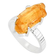 10.81cts natural raw imperial topaz 925 silver solitaire ring size 8 r79541