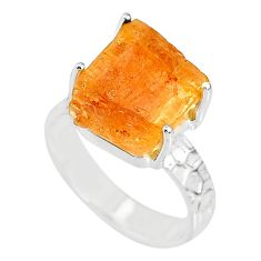 8.83cts natural raw imperial topaz 925 silver solitaire ring size 8 r79543