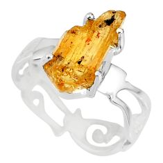 5.54cts natural raw imperial topaz 925 silver solitaire ring size 8 r79550