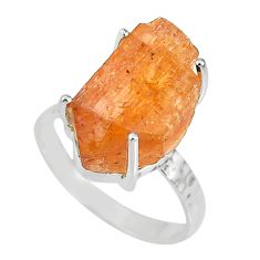 9.27cts natural raw imperial topaz 925 silver solitaire ring size 8 r79559