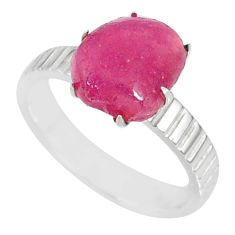 2.53cts natural raw ruby rough 925 silver solitaire ring jewelry size 6 r79394